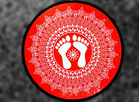 vaporarium: Flat red designer sticker for floor