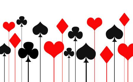 Ilustración de las tarjetas que juegan símbolo, corazones, picas, diamantes, tréboles Foto de archivo - 50466589