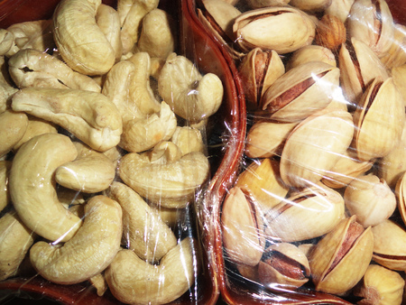 pista: Delicious Healthy Mixed Dry Fruits, Cashew Nut and Pistachio Stock Photo
