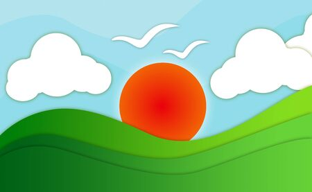 2d wallpaper: Abstract wallpaper burning sun, valley, clouds and flying birds Stock Photo