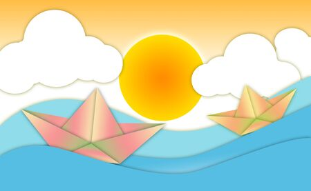 2d wallpaper: Abstract wallpaper burning sun, river with floating paper boat
