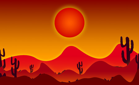 2d wallpaper: Abstract wallpaper burning sun in desert area with cactus