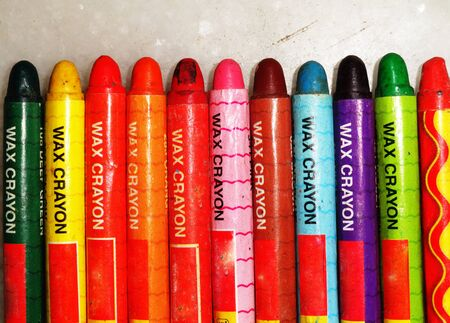 stationery needs: Many different colored crayon pencils Stock Photo