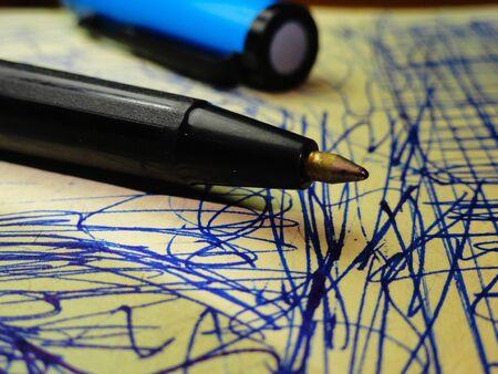 ball pen: Ball Pen with Hand Written Paper. Focus on End Tip of Ball Pen.