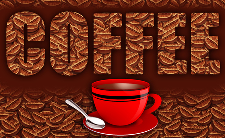 caption: Fresh Coffee Beans Illustration with Caption Text and Coffee Mug and Spoon