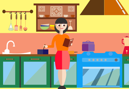 modern kitchen interior: Young Girl Cooking by Recipes Book, Modern Kitchen Interior Vector Illustration