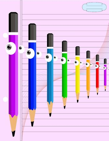 Designed Colored Pencils with Eyes on Note Book Paper