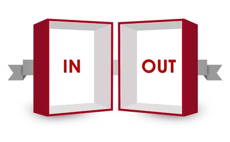 disagree: Opposite Text Inside Red and White 3D Box on White Background Stock Photo