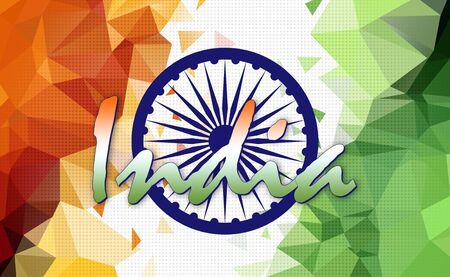 asoka: Indian Tricolor Flag, Low Poly Illustration, Ashoka Chakra Stock Photo
