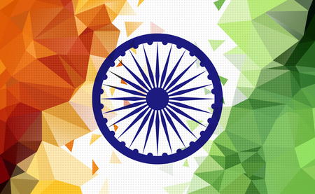 Indian Tricolor Flag, Low Poly Illustration, Ashoka Chakra Stock Photo