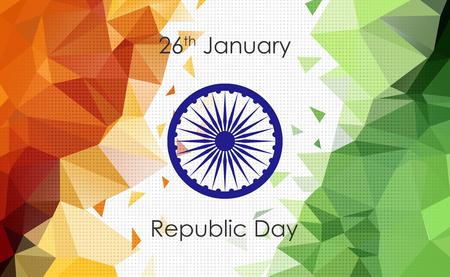 Indian Tricolor Flag, Low Poly Illustration, Ashoka Chakra Stock Photo