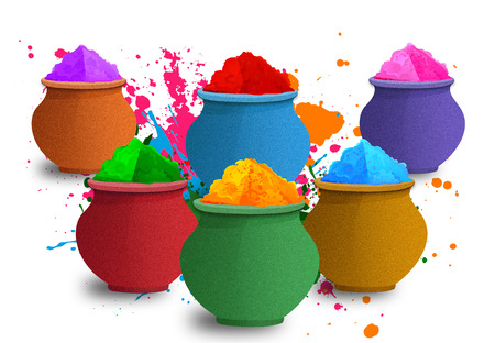 gulal: Illustration of Colorful Gulal, Colors for Happy Holi