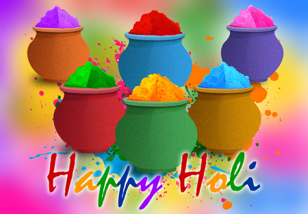 Illustration of Colorful Gulal, Colors for Happy Holi