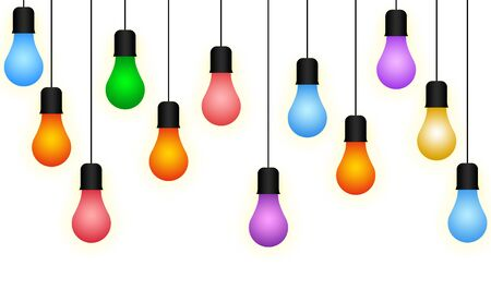 Colorful Illuminous Light Bulb, Bulb Hanging Through Wire Illustration Stock Photo