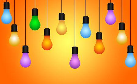 ahorcada: Colorful Illuminous Light Bulb, Bulb Hanging Through Wire Illustration Foto de archivo