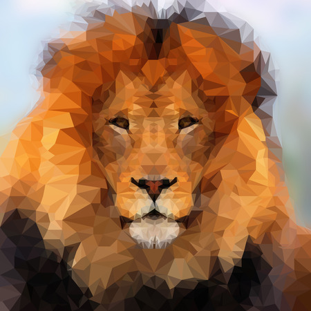 Abstract Polygonal Illustration, Lion Low Poly Portrait. Stock Photo