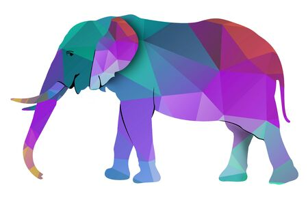 king thailand: An Elephant Low Poly Illustration, Isolated on White Background Stock Photo