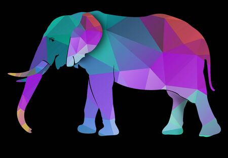 king thailand: An Elephant Low Poly Illustration, Isolated on Black Background