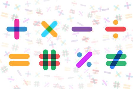 Math Icons Set on White Background