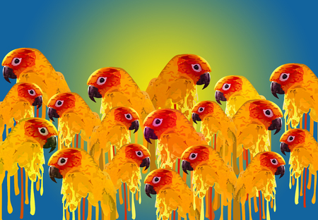 macaw: Colorful Parrot Illustrations Seamless Wallpaper, Macaw Bird