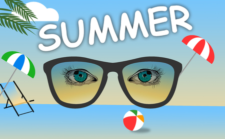 side viewing: Composition for Summer Background with Eye Illustration