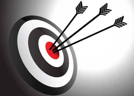 Arrows Hits in the Center at Target Point Stock Photo