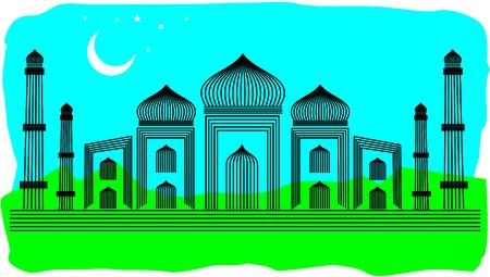 dome of hindu temple: Line Art Illustration of Agra Taj Mahal, India
