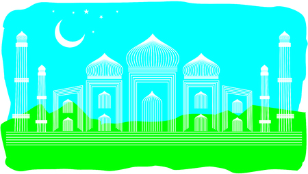 Line Art Illustration of Agra Taj Mahal, India