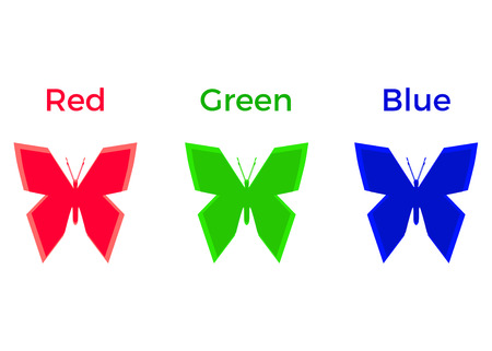 RGB, Red, Green & Blue, Color Modes, Three Butterflies