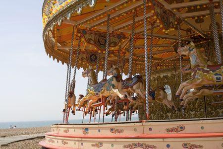 reminiscent: Merry-go-round at Brighton beach Stock Photo