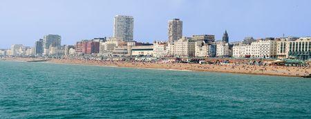 veiw: Panoramic veiw of Brighton beach Stock Photo