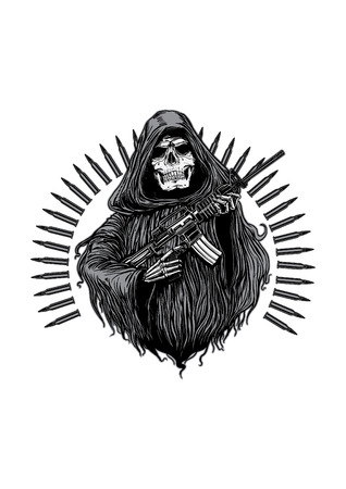 A grim reaper holding riffle