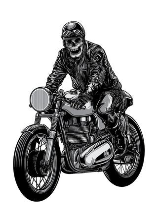 Skeleton riding a motorcycle wearing helmet.