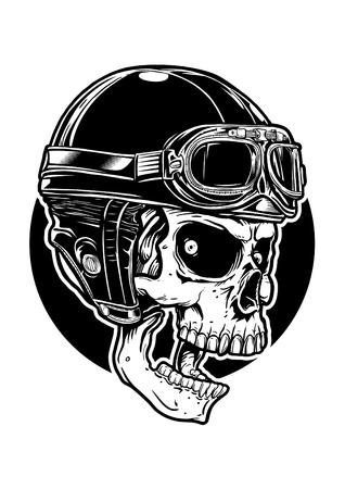 A skull wearing helmet