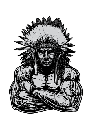indian headdress: An Indian guy with muscular body wearing Indian Headdress, Illustration
