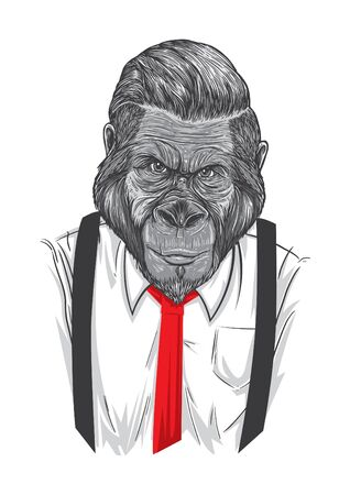 suspender: An ape wearing white shirt,red tie and suspender.