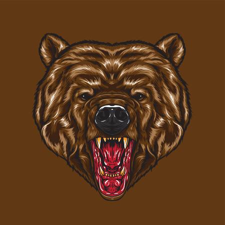 Un visage d'ours en colère. expression du visage en colère montrant les crocs.