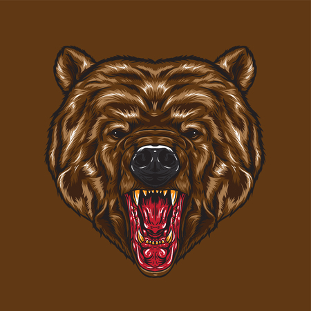 An angry Bear Face. Angry face expression showing fangs.