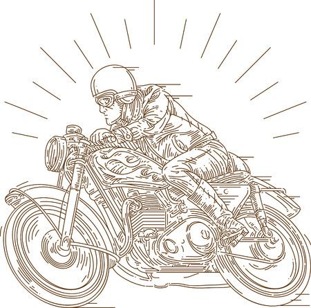 classic motoracer wearing vintage helmet