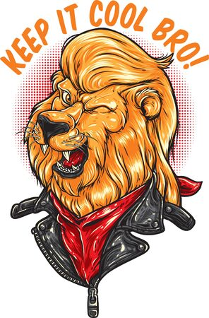lion head with cool hair wear leather jacket