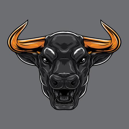 ferocious: ANgry Bull Face Illustration