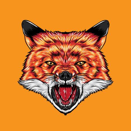 fox face: Angry Fox Face Illustration