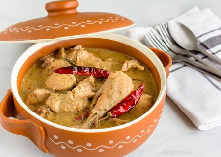 Chicken Rezala, Popular Eastern Indian Cashew Chicken with Gravy Top Down Photo with Assorted Spices on White Background