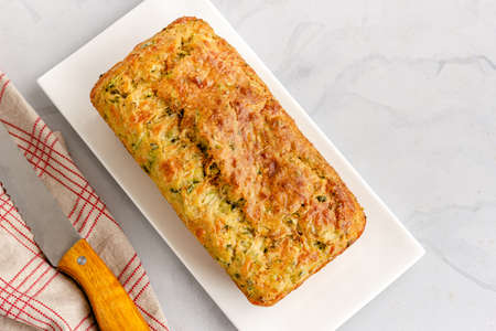 Zucchini Bread Loaf in a Plate Top Down Horizontal Photo, Baking Photography