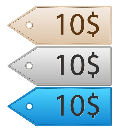 Color leather price tags Vector