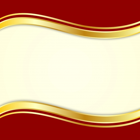 Red background with gold ribbon for text Vector