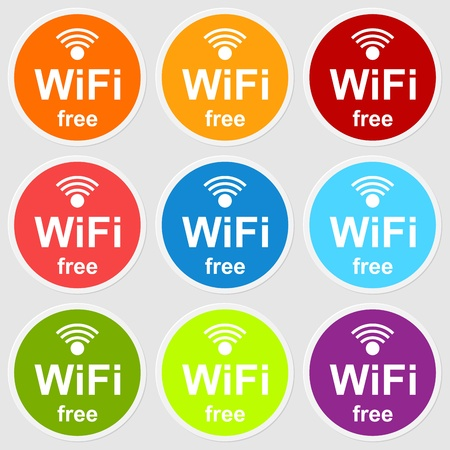 Colorful wifi free icons for business