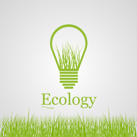 Vector green eco light bulb  Ecology concept  Vector