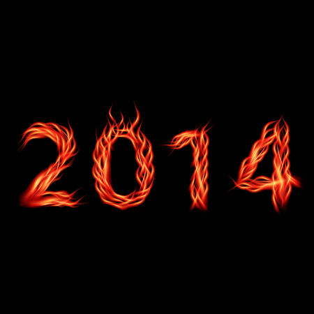 Futuristic new year 2014 fire look numbers  Vector illustration  Vector