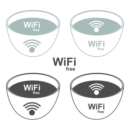 Wi-Fi zone signs to the store and bar  Vector illustration   Vector